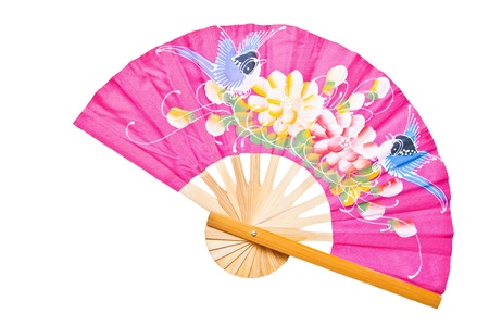 Pink Chinese fan on a white background Stock Photo - 9444937