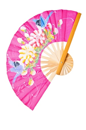 Pink Chinese fan on a white background