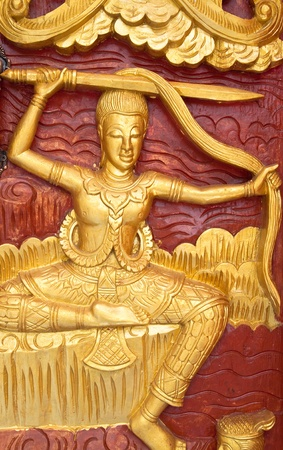 Golden Wood Carving Close Up,Traditional Thai Style in Thai Temple. Stock Photo - 9637516