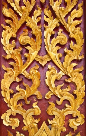 Golden Wood Carving,Traditional Thai Style in Thai Temple. Stock Photo - 9637509