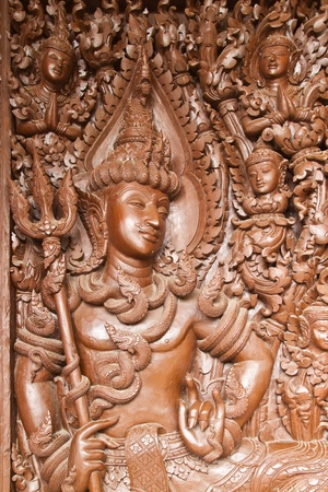 Native Thai style wood carving photo