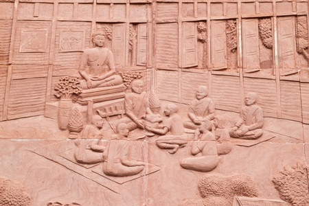 low relief: Native Thai art on low relief sculpture