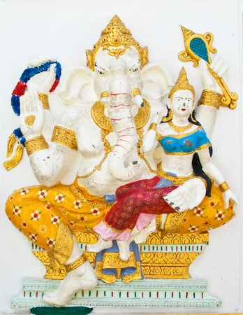 Indian or Hindu ganesha God Named Shakti Ganapati at temple in thailand ;The conviction will be used hand to apply to the Lord for get the wishes. Stock Photo - 10400007