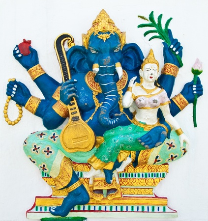Indian or Hindu ganesha God Named Uchchishta Ganapati at temple in thailand ;The conviction will be used hand to apply to the Lord for get the wishes. Stock Photo - 10400012