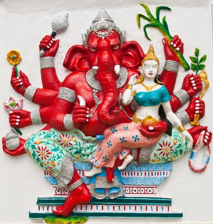 Indian or Hindu ganesha God Named Uddanda Ganapati at temple in thailand ;The conviction will be used hand to apply to the Lord for get the wishes. photo
