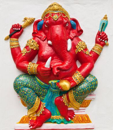 Indian or Hindu ganesha God Named Rinamo Ganapati at temple in thailand ;The conviction will be used hand to apply to the Lord for get the wishes. Stock Photo - 10482681