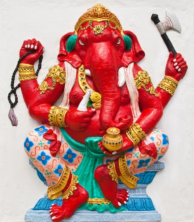 Indian or Hindu ganesha God Named Dhundhi Ganapati at temple in thailand ;The conviction will be used hand to apply to the Lord for get the wishes. Stock Photo - 10482680