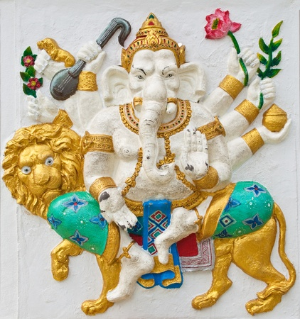 Indian or Hindu ganesha God Named Singha Ganapati at temple in thailand ;The conviction will be used hand to apply to the Lord for get the wishes. photo