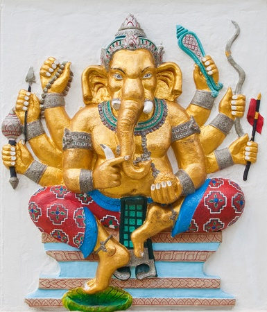 Indian or Hindu ganesha God Named Duraga Ganapati at temple in thailand ;The conviction will be used hand to apply to the Lord for get the wishes. photo
