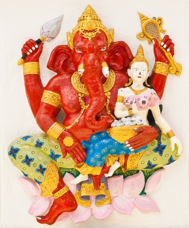 Indian or Hindu ganesha God Named Sankatahara Ganapati at temple in thailand ;The conviction will be used hand to apply to the Lord for get the wishes. Stock Photo - 10503277