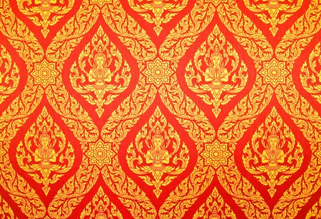 Traditional Thai style painting art in Thai temple,Thailand photo