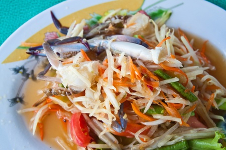 Thai papaya salad with  horse crab photo
