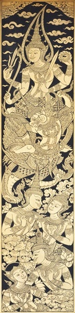 Old Thai style painting art in thai temple,Thailand. Generality in Thailand, any kind of art decorated in Buddhist church etc. created with money donated by people, no restrict in copy or use. Standard-Bild