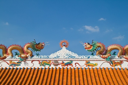 Chinese dragon and the blue sky in shrine,East of Thailand Stock Photo - 11345144