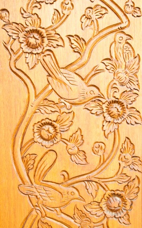 door leaf: Thai style wood carving Editorial