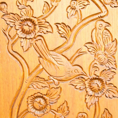 wood carving: Thai style wood carving Stock Photo