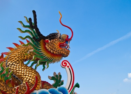 Chinese dragon and the blue sky in shrine,East of Thailand photo