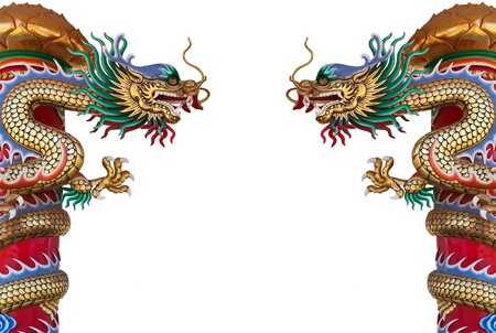 Twin Golden Chinese Dragon Wrapped around red pole on isolate background.