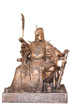 general cultural heritage: Chinese legend of the gods statue isolated on white background,with clipping path.