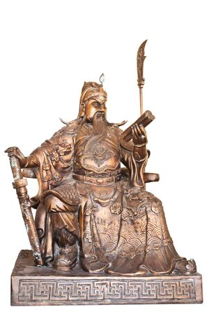 general cultural heritage: Chinese legend of the gods statue isolated on white background.