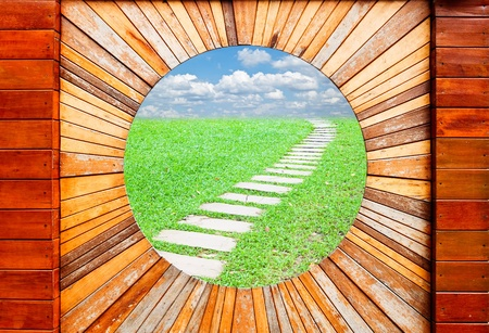 Vintage wood pattern texture with walkway and blue sky background photo