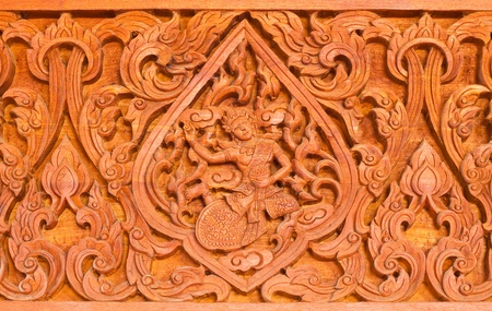generality: Traditional Thai style wood carving in Thai temple ,Generality in Thailand, any kind of art decorated in Buddhist church etc.   Stock Photo