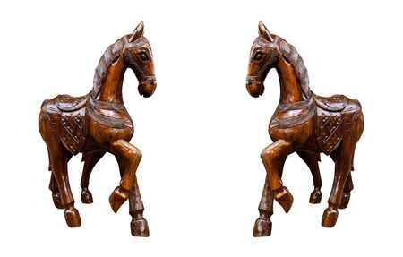 horse wood carved on white background photo