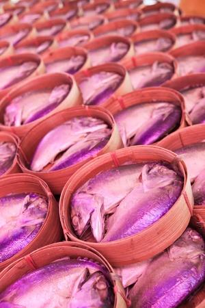 Mackerel fish in bamboo basket at market,Samutsongkram province-Thailand  photo