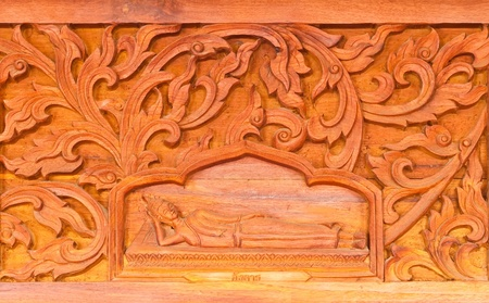 Traditional Thai style wood carving in Thai temple ,Generality in Thailand, any kind of art decorated in Buddhist church etc. created with money donated by people, no restrict in copy or use Stock Photo - 13511937