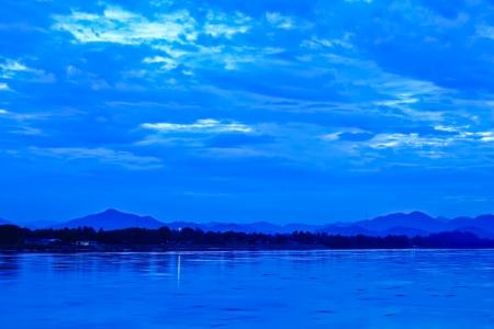khong river: Khong river and blue sky before sunrise at the border between Thailand and Laos Republic