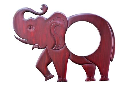 Elephant wood carved on white background photo
