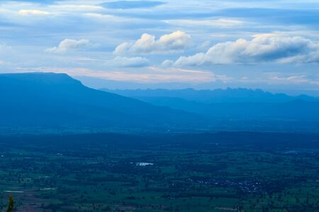 Mountain landscape against blue sky background before sunset at Morhinkhao,Chaiyaphum Province photo