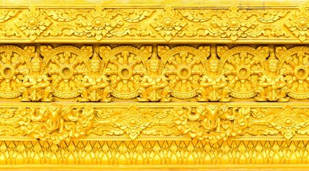 Traditional Thai style sculpture on the wall Stock Photo - 15759726