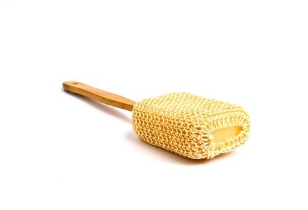 long handled: Loofah Long Handled Back Brush on white back ground Stock Photo