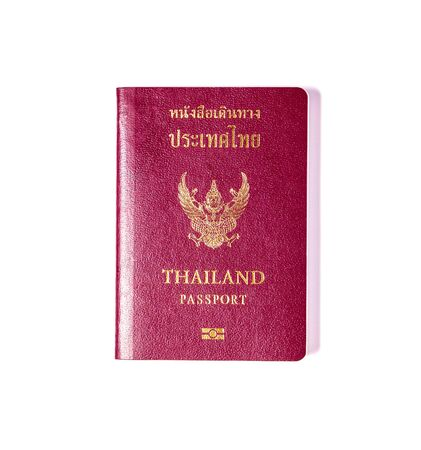 Thailand passport isolated on white background with shadow photo
