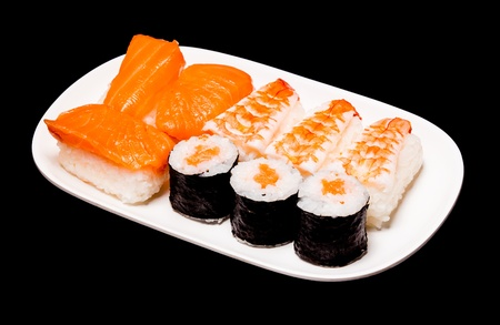 sushi in white plate on black background photo