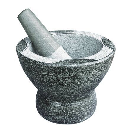 Stone pestle & mortar isolated on white background,with clipping path photo