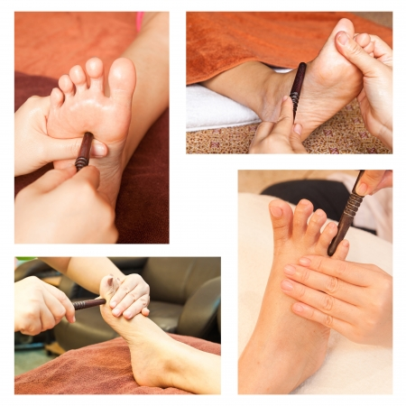 restore energy flow: Collection of reflexology foot massage, spa foot treatment by wood stick Stock Photo