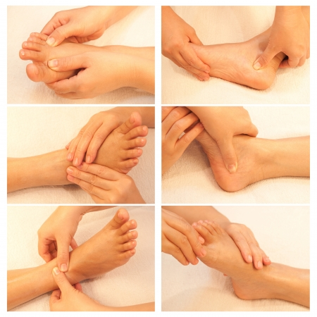 rejuvenate: Collection of reflexology foot massage, spa foot treatment Stock Photo
