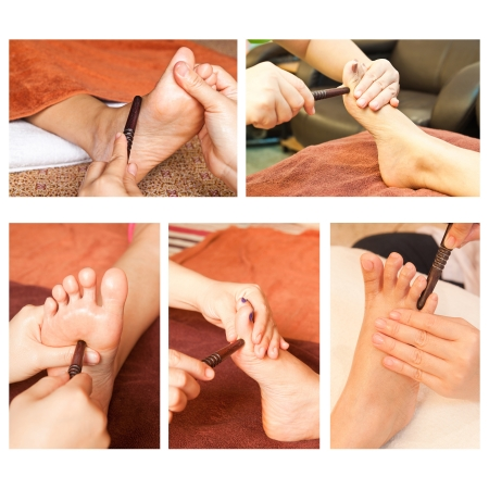 Collection of reflexology foot massage, spa foot treatment by wood stick Stock Photo - 17561785