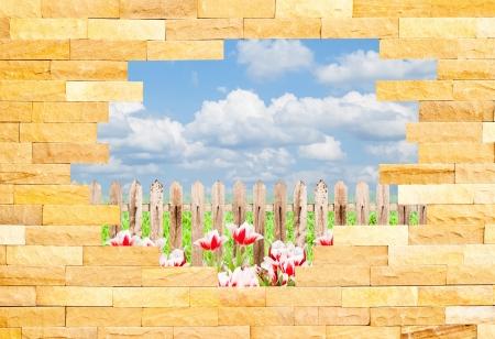 crashed: Crashed Brick Wall with beautiful landscape behind