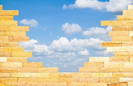 Crashed Brick Wall with beautiful blue sky behind Stock Photo - 17802314