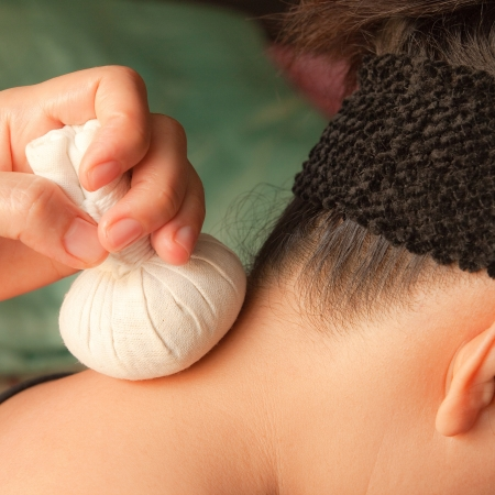 reflexology neck massage, spa the neck treatment by ball-herb,Thailand photo