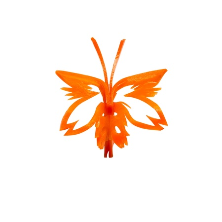 beautify: Butterfly carving made from carrots for meal decoration on white with clipping path