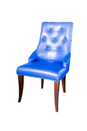 Blauw Leren Stoel.Klassieke Donker Blauw Lederen Fauteuil Geisoleerd Op Witte