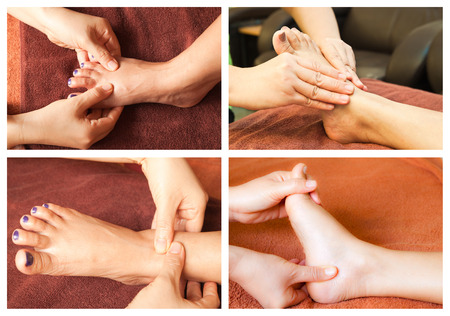 Collection of reflexology foot massage Stock Photo - 26420365