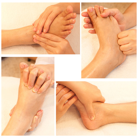 Collection of reflexology foot massage