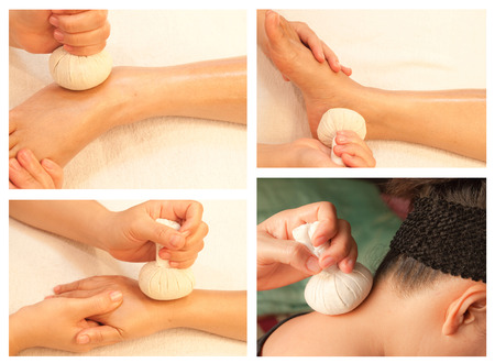 Collection of reflexology massage, spa treatment by ball herbal