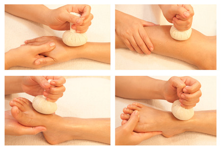 Collection of reflexology massage, spa treatment by ball herbal Stock Photo - 26420372