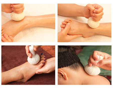 Collection of reflexology massage, spa treatment by ball herbal photo